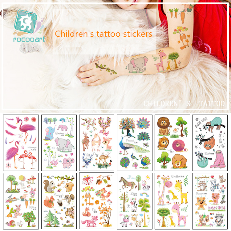 Latest 2019 Cartoon Animal Tattoo Designs Of Peacock Flamingo Children's Temporary Tattoo Stickers Forest Series Pattern For Kid