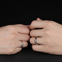 316L Stainless Steel Silver Half Heart Simple Circle Real Love Couple Ring 2