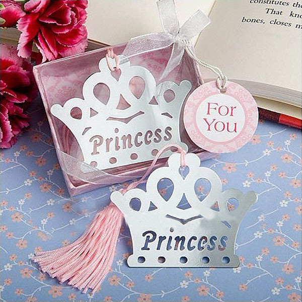 2019 Real Hot Sale Imperial Crown Bookmarks Metal With Tassels Stationery For Books Kids Gifts Wedding Favors K6893