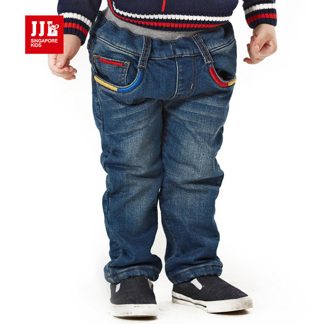 2015 new winter children's clothing boys baby jeans children trousers newborn boys full pants nap inside 0-4Y free shipping