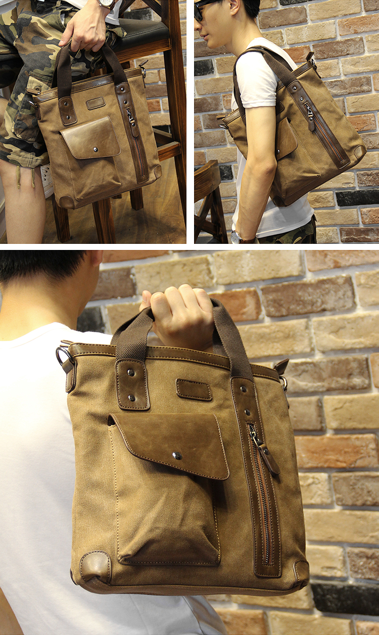 Men's bags Brand Vintage Men's Messenger Bags Canvas Shoulder HandBag Fashion Men Business Crossbody Bag Casual Travel Handbag 24