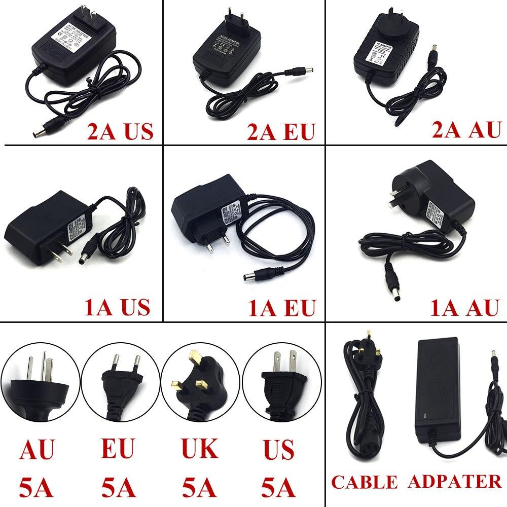 Адаптер питания 1A 2A 5A для светодиодной ленты 12 Вт 24 Вт 60 Вт DC 12 В трансфомер напряжения с вилкой EU US UK AU источник питания светодиодный драйвер