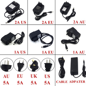 1A 2A 5A Power Adapter for Led Strip 12W 24W 60W DC 12V Voltage Transfomer with EU US UK AU Plug Power Supply Led Driver