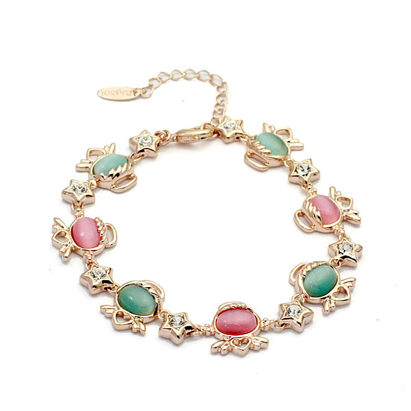 Free Shipping Italina Rigant Fashion rose gold plated Cymophane Opal Bracelet Fashion Cute Bracelets,Wholesale Jewelry Gift