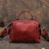 Новая женская сумка из натуральной кожи с ручкой сверху, женская сумка ручной работы в стиле ретро, 2018 Оригинальная дизайнерская сумка месс