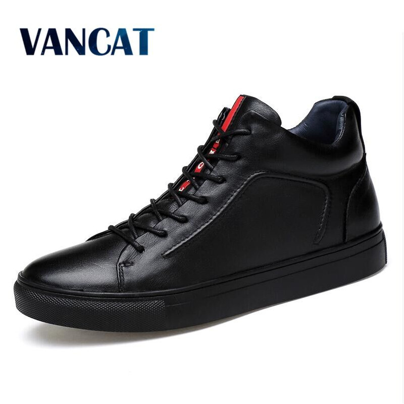 VANCAT Big Size Men Shoes High Quality Split Leather Men Ankle Boots  Black Snow Boots Winter Men Boots Warm Shoes With Fur