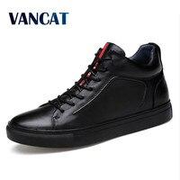 VANCAT Big Size Men Shoes High Quality Split Leather Men Ankle Boots Black Snow Boots Winter Men Boots Warm Shoes With Fur