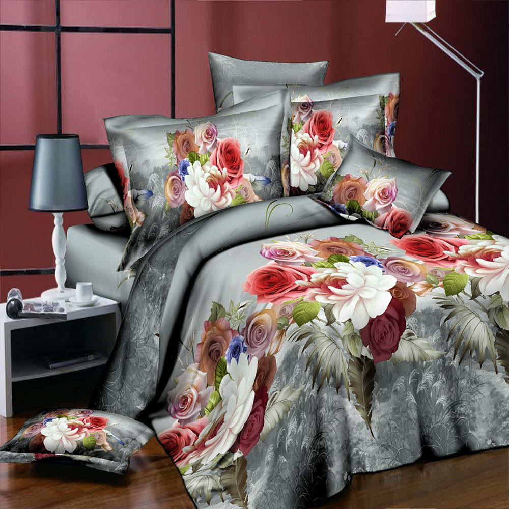 Colorful Peony Flower Home Textiles 3D Bedding Sets Cotton Panther4 Pcs Duvet Cover Set Flat Sheet Pillowcase Bedclothes