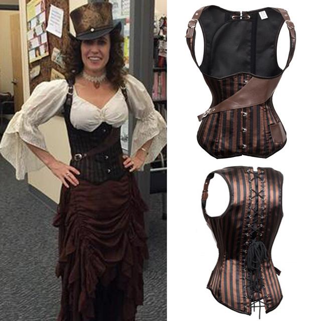 Rayas Corsé de Underbust Steampunk Corsés Y Bustiers Disfraces Burlesque del Satén Ata Para Arriba Deshuesado Acero de Cintura que adelgaza Shaper TYQ