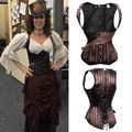 Striped Corset Underbust Steampunk Corsets And Bustiers Steel Boned Waist slimming Lace Up Satin Burlesque Costumes Shaper TYQ