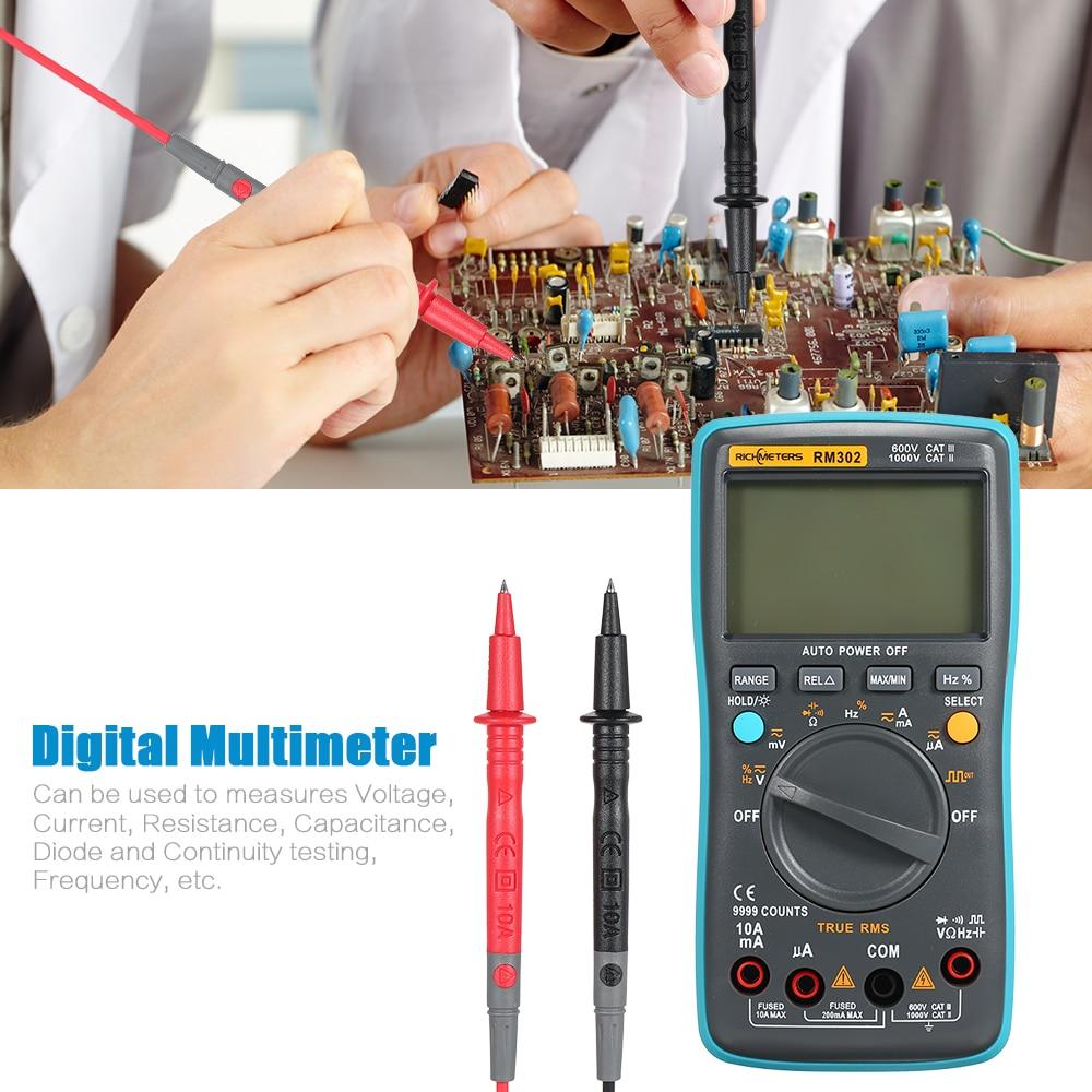 RM301 Digital Multimeter 8000 counts Portable Battery Drives AC/DC Voltage Multifunction Ammeter Temperature Capacitance Tester