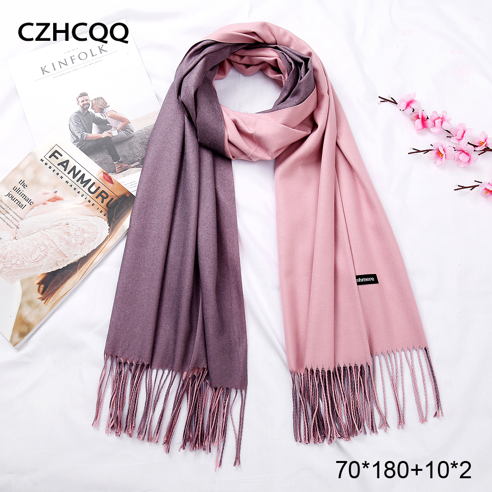New Double Sided Winter Women Cashmere Solid Scarf Pashmina Shawls And Wraps Female Foulard Hijab Wool Stoles Head Scarves(China)