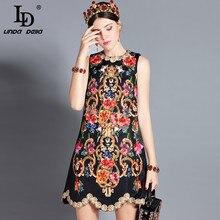 LD LINDA DELLA 2020 Spring Fashion Runway Dress Women's Sleeveless Tank Retro Crystal Beading Floral Print Mini Vintage Dress