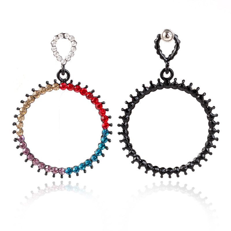 Womens New Earrings Accessories Europe and the United States hollow colorful earrings High-end simple circle earrings