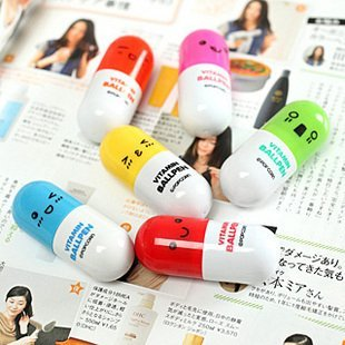Hot sale 20pcs/lot, Ballpoint pen, vitamin pill, novelty pen, size12x2.4cm, gift pen,multicolor, free Shipping
