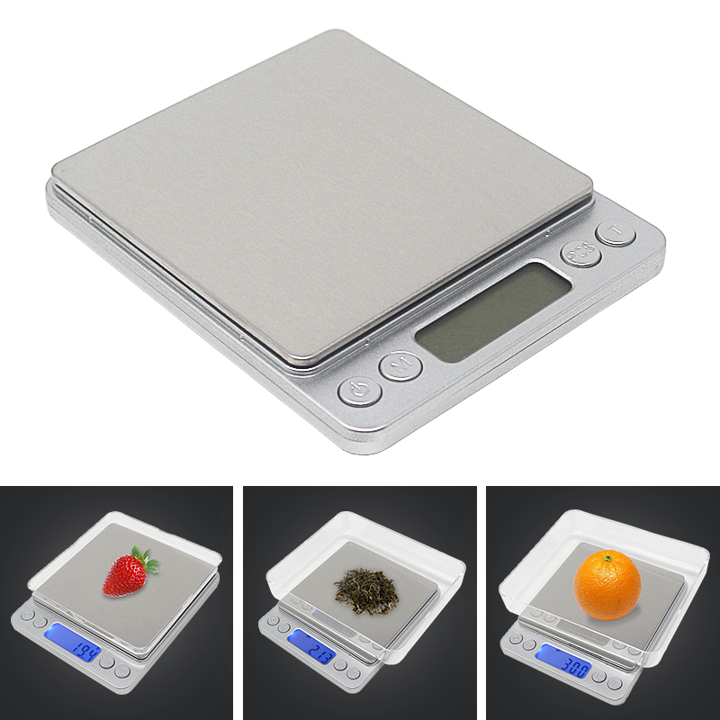 3000G/0,1g 500g x 0,01g cocina electrónica escala del peso de Balance joyería de alta precisión escalas alimentos dieta Libra con 2 perros callejeros