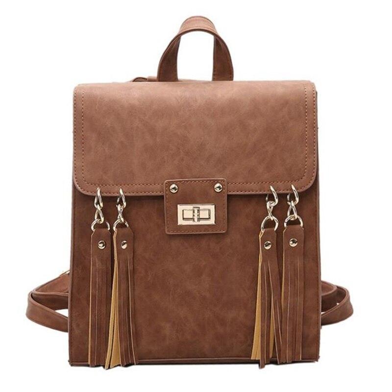 Tassel Women Leather Backpack Teenage Backpacks For Girls Vintage Mochila Escolar Feminina Backpack Sac a Dos
