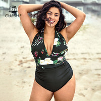CUPSHE Plus Size Floral Leaf Print V Neck One Piece Swimsuit Women Sexy Halter Monokini Bathing Suits 2019 Girl Beach Swimwear