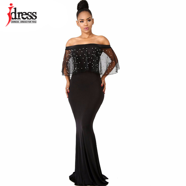 US $17.69 20% OFF|IDress S 4XL Women Black Long Dress Plus Size Ruffles  Beaded Off Shoulder Mermaid Dress For Evening Party Short Sleeve  Vestidos-in ...