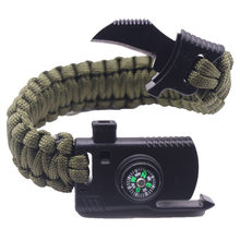 Men Braided Black Multifunctional Paracord Bracelet Survival Compass Whistle Knife Military Emergency Paracord Bracelets Women(China)