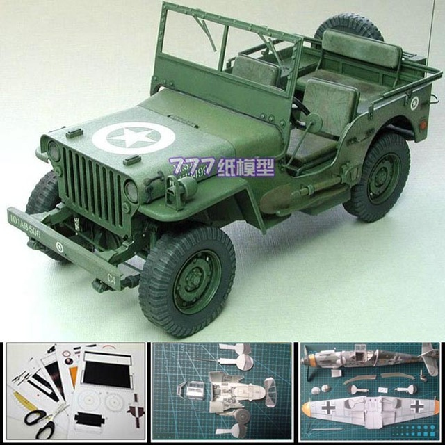 New 3d Paper Model Car World War Ii The Us Willys Jeep Military Car