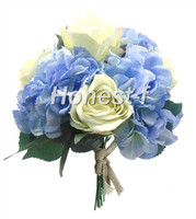Hand Tie Artificial Silk Flowers Bounquet with 4 Heads Hydrangea and 5 Heads Rose , Bridal Wedding(Blue And White)