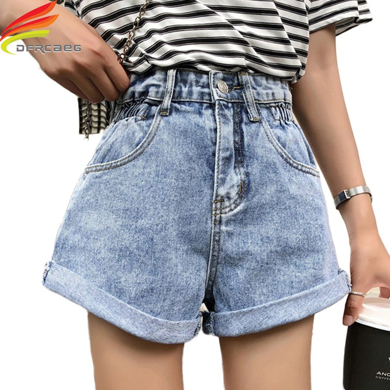 High Elastic Waist Crimping Denim Shorts Women 2019 Summer Korean Style Streetwear Shorts Jeans Summer Hot Short Jeans Women