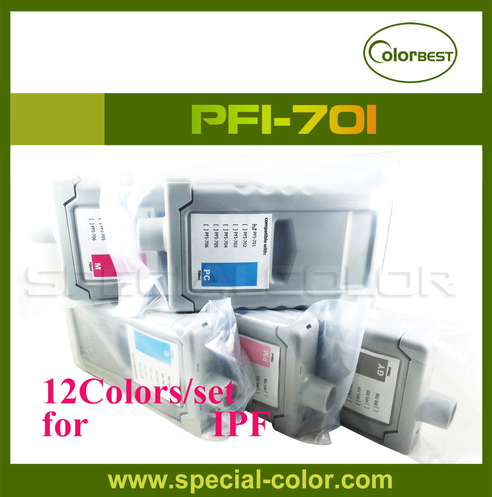 12Colors/set IPF 8000/8100/9000/9100 Printer Pigment Ink Cartridge PFI-701 700ml Ink with Chip rna6919 heavy duty needle roller bearing entity needle bearing without inner ring 6634919 size 110 130 63