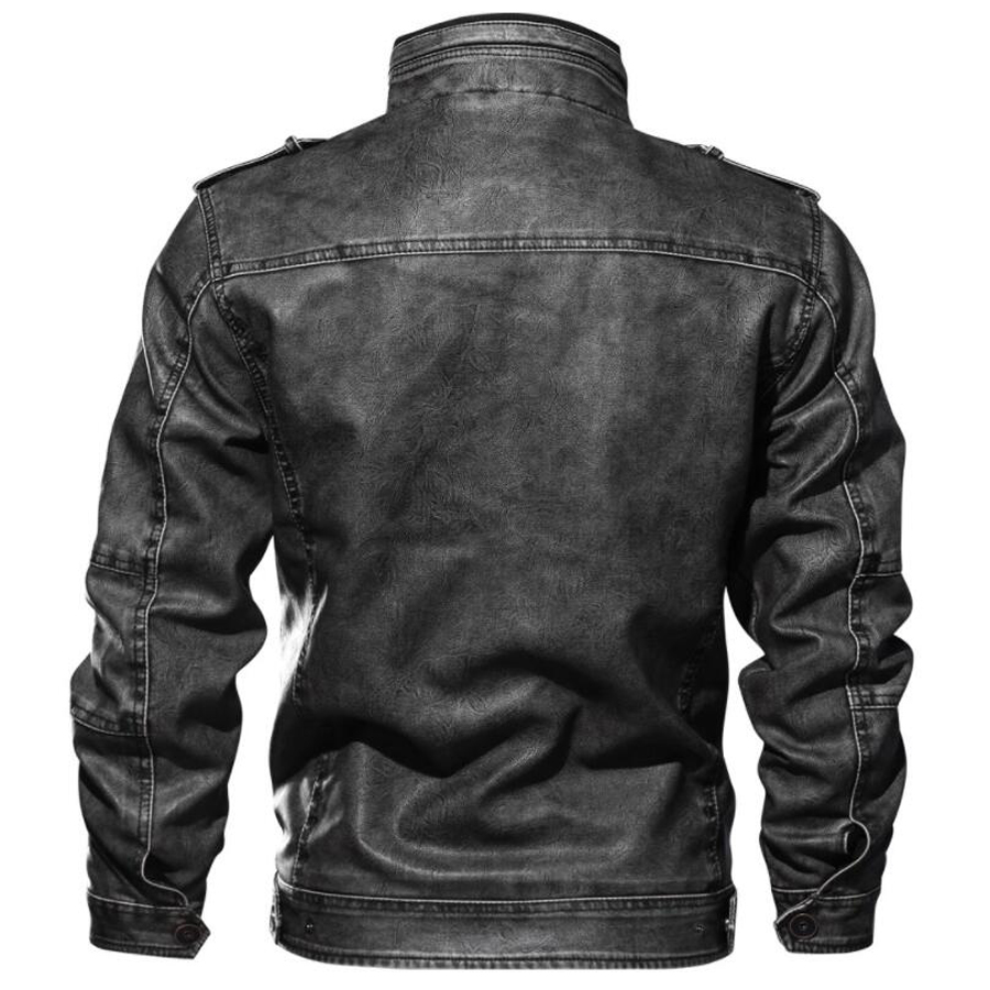 Image 3 - 2019 Jackets Men Slim Fit Casual Outwear Bomber Jacket Winderbreaker PU Motorcycle Leather Jackets male new fur coat 6XL 7XL-in Faux Leather Coats from Men's Clothing