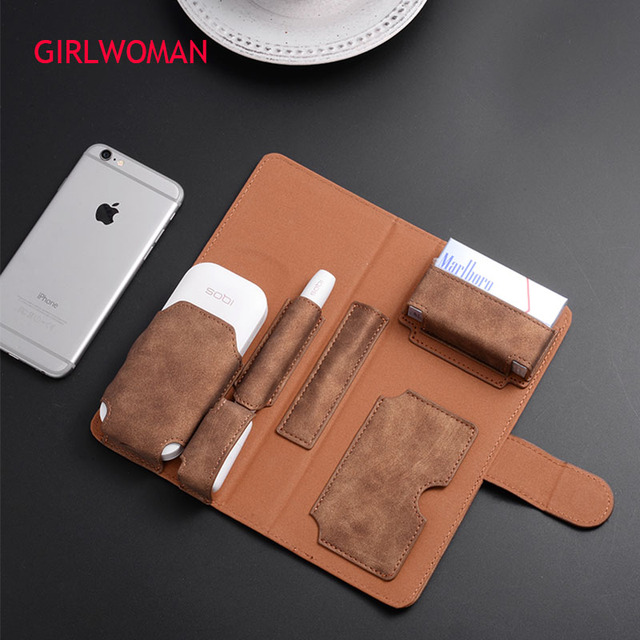 GIRLWOMAN Case for IQOS 2.4 PLUS Wallet Pouch Bag Protective Holder Cover Box Wallet Case Electronic Cigarette PU Leather Case