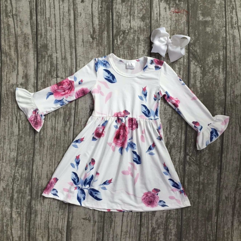 купить baby girls fall dress clothing children floral dress kids children Fall white floral dress girls boutique Fall dress clothing недорого