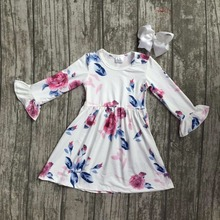 baby girls fall dress clothing children floral dress kids children Fall white floral dress girls boutique