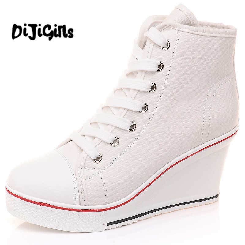 Black White  Shoes Platform 2017 Hidden Wedge Boots Shoes For  High Heel Top Canvas Shoes Casual Shoes Ladies 35-42 2018 wedge high heels thick soled high top ladies casual shoes women platform canvas shoes hidden wedge heel boots zapatos mujer