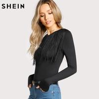 SHEIN Fringe Detail Solid T Shirt Black Long Sleeve T Shirt Women Crew Neck Autumn Womens