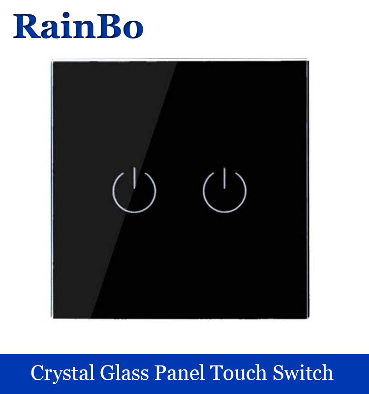 New Crystal Glass Panel wall switch EU Standard 110~250V Touch Switch Screen Wall Light Switch 2gang1way black rainbo Brand 2017 smart home crystal glass panel wall switch wireless remote light switch us 1 gang wall light touch switch with controller