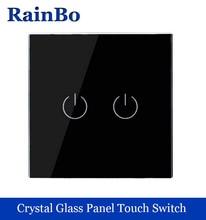 Новый кристалл стеклянная панель настенный выключатель стандарт ес 110 ~ 250 В коммутатор сенсорный экран стены выключатель света 2gang1way черный rainbo бренд