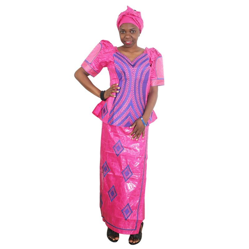 MD African Dresses For Women Bazin Riche South Africa Women Tops With Skirt Set Rhinestones Embroidery Clothes Aso Oke Headtie
