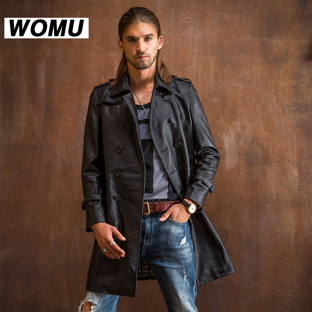 New Popular font b Men b font Genuine leather medium long thin leather clothing male sheepskin