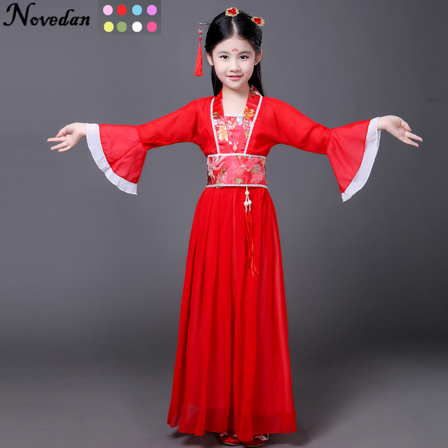 169f312c5 Ancient Chinese Costume Kids Child Seven Fairy Hanfu Dress Clothing Folk  Dance Performance Chinese Traditional Dress For Girls