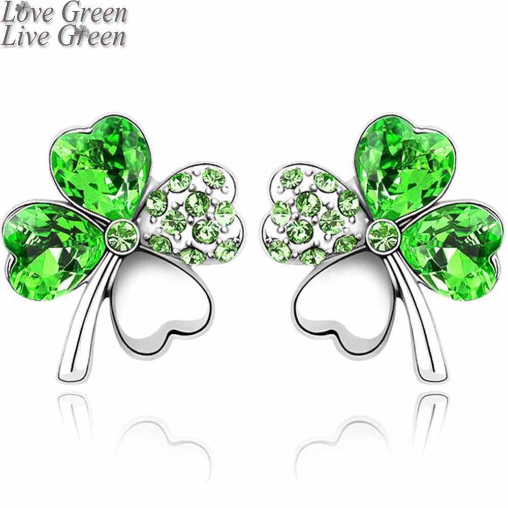 2017 Pretty Four Leaf Clover Earrings Stud Women Brand Gold Color Austrian Crystal