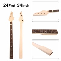 Electric Guitar Bass Neck 24fret 34inch Maple+Rose wood Handmade Unfinished #B5