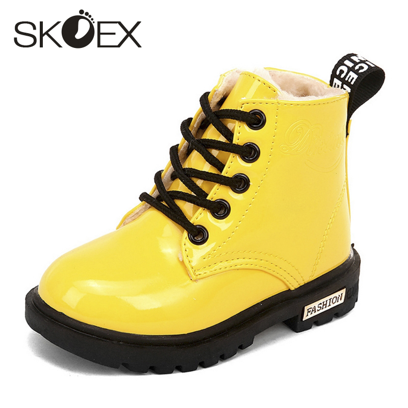 SKOEX Kinderstiefel Wasserdicht Jungen Mädchen Martin Stiefel Winter Kinder Schneeschuhe Ankle Short Booties Child Fashion Sneakers