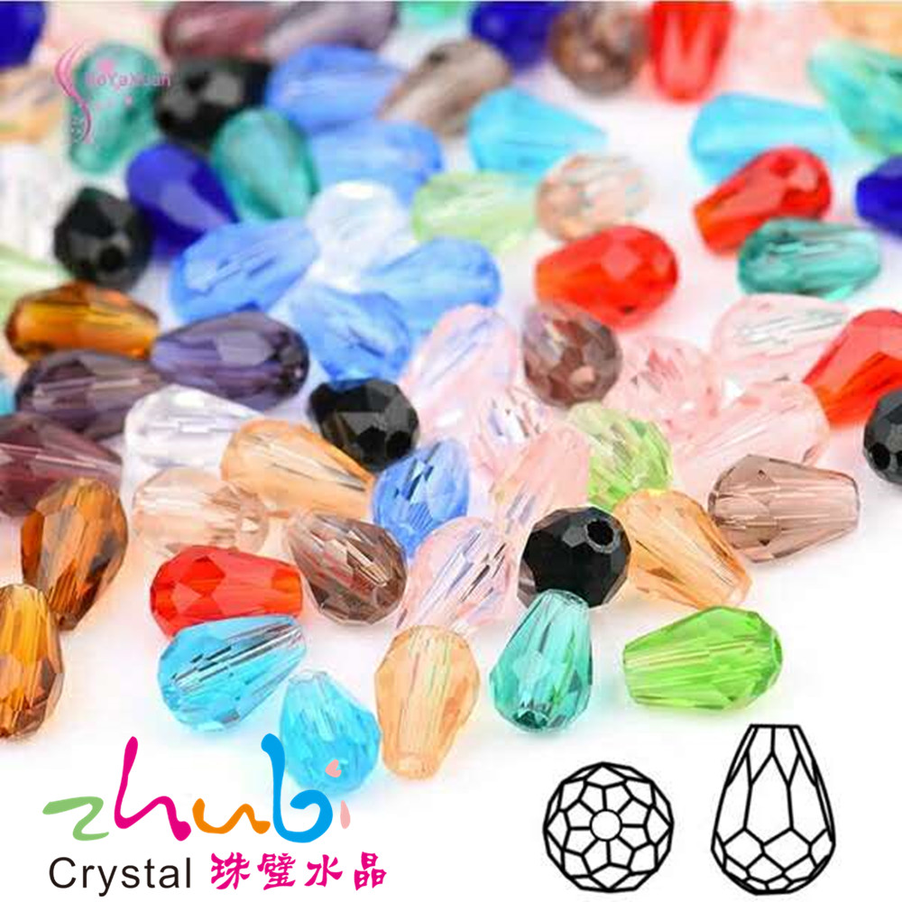 Tear Drop Crystal Beads 10*15MM (50PCS/LOT)Mixed Color Crystal Drop Beads Straight Hole Faceted Glass Stones Charms for Jewelry