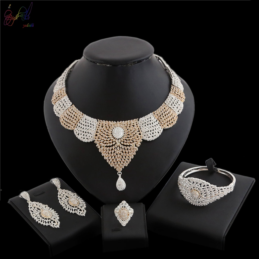 YULAILI Hot Sale Gold Wedding Jewelry Set Two Tone Cubic Zircon for Women Luxury Costume Accessories seraph of the end mikaela hyakuya cosplay costume full set costume hot sale h