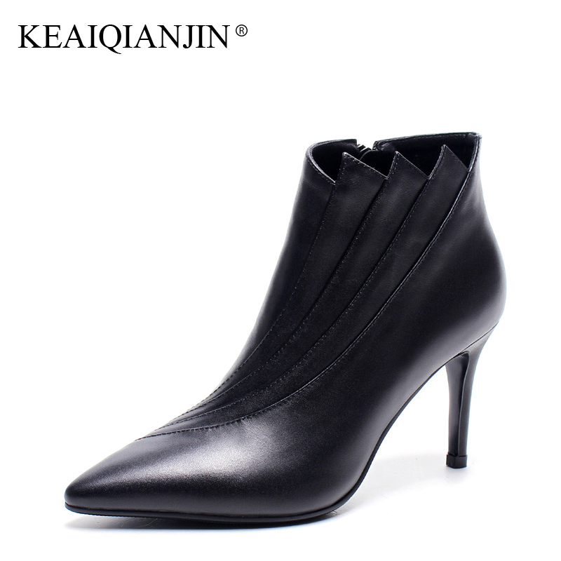 KEAIQIANJIN Woman High Heeled Ankle Boots Black Gray Autumn Winter Genuine Leather Shoes Fashion sexy Pointed Toe Boots 2018 leather in the boots 2017 autumn and winter new fashion waterproof taiwan with rivets leather pointed high heeled female shoes