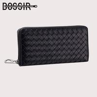 Genuine Leather Wallet Women Long Style Knitting Pattern Zipper Wallets Women Clutch Purse