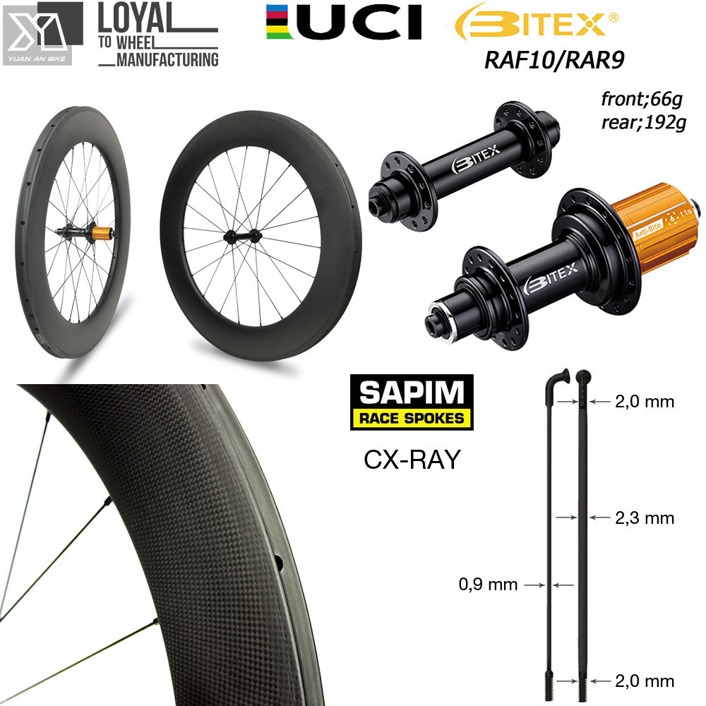 Super Light Weight Road Bike 700c Carbon Wheel 30 38 47 50 60 88 Clincher Tubular Tubeless With BITEX 260g Hub And Sapim CX Ray velosa supreme 50 bike carbon wheelset 60mm clincher tubular light weight 700c road bike wheel 1380g