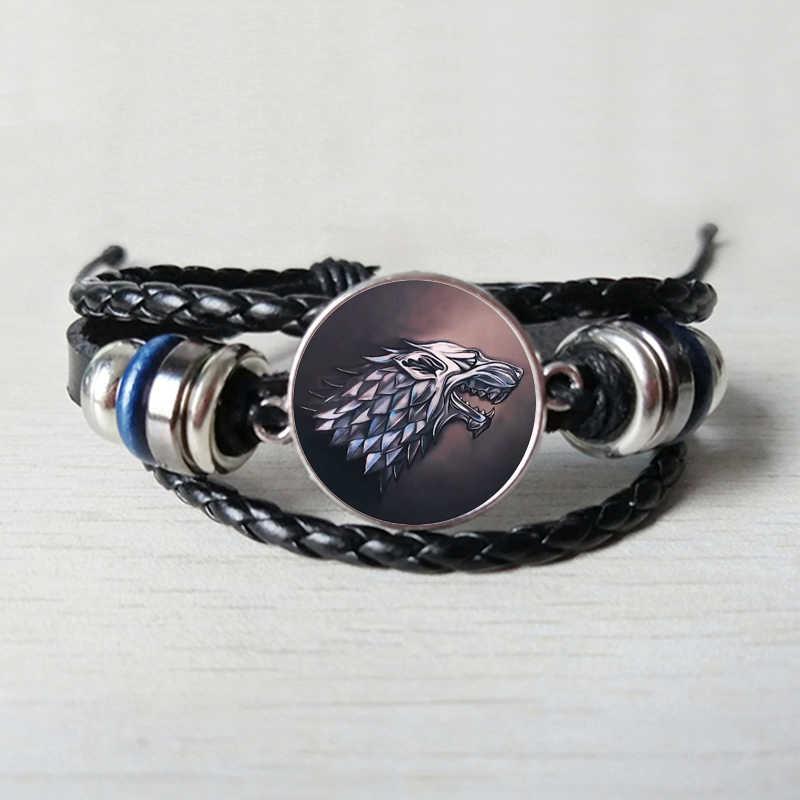 Pieśń lodu i ognia Stark wilk Logo szkło Cabochon bransoletka ze skóry mężczyzn Targaryen smok gra o tron serii bransoletka