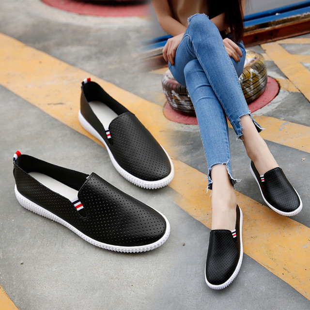 4fb2e45157b Ladies Women Hollow Out Shoes Round Toe Platform Flat Heel Slip On Casual  Shoes