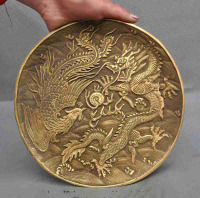 Fine China Brass Dragon Beast Phoenix Bird Play Bead Decoration Plate Dish Tray